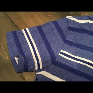 Blue striped V neck